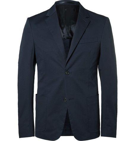 PRADA Blue Slim-Fit Stretch-Cotton Twill Blazer. #prada #cloth #blazers