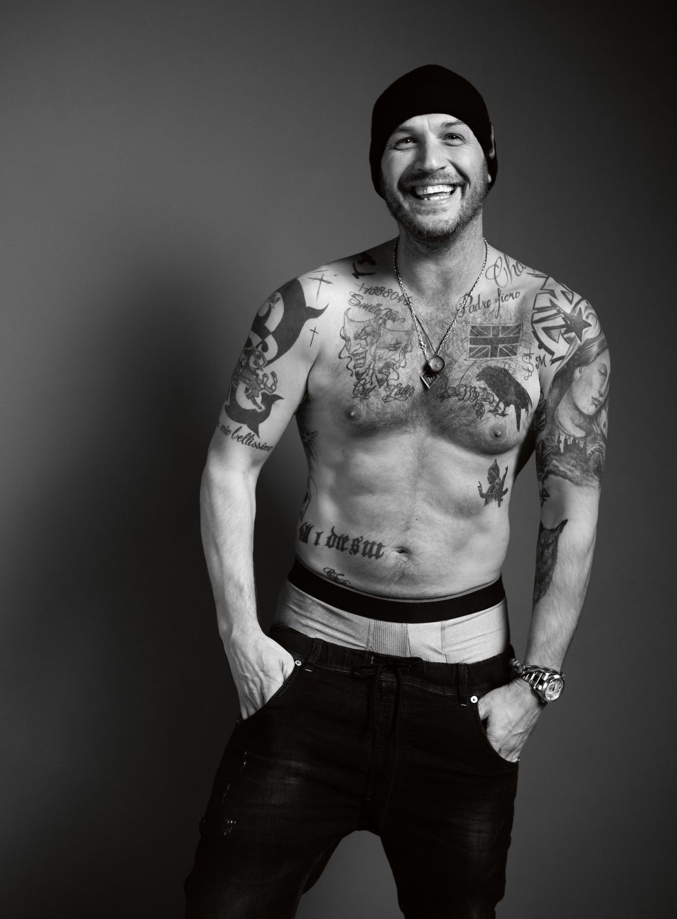 14 Tom Hardy English Actor Poster Black and White Muscle Tattoo Picture Handsome