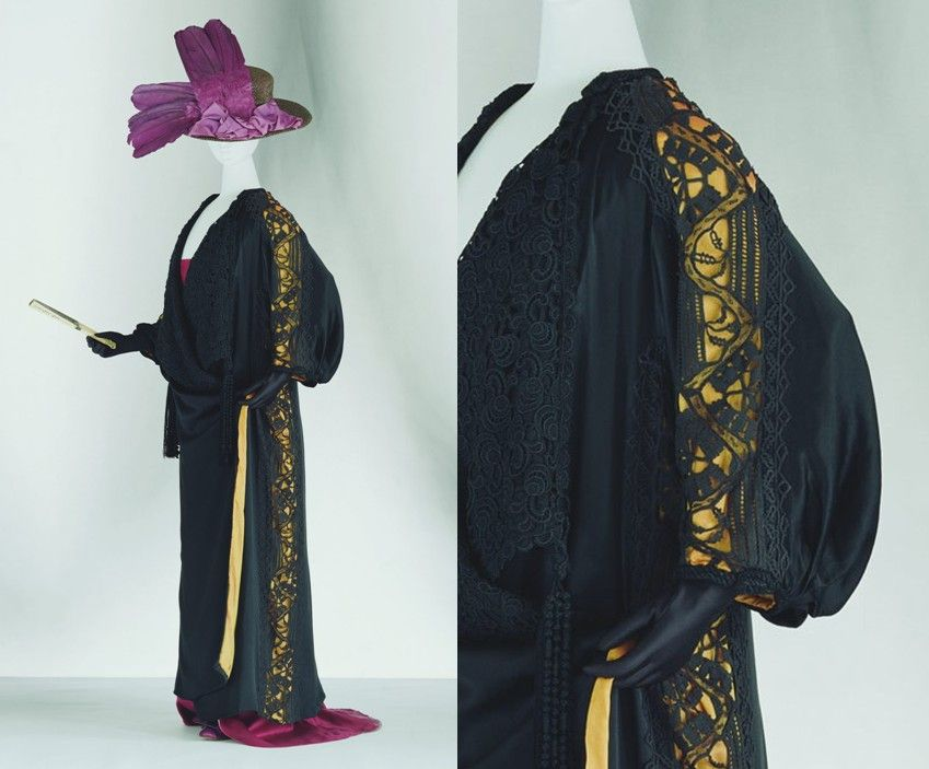 "Paul Poiret - coat c.1909. Black silk satin; kimono sleeve; rectangular flat form like kimono; crochet and bobbin lace; black lace lapel with tassel; yellow silk ""habutae"" lining. http://www.kci.or.jp/"