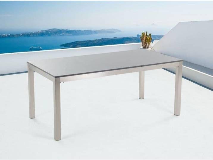 Beliani Gartentisch Edelstahl Granit Grau Poliert 180 X 90 Cm