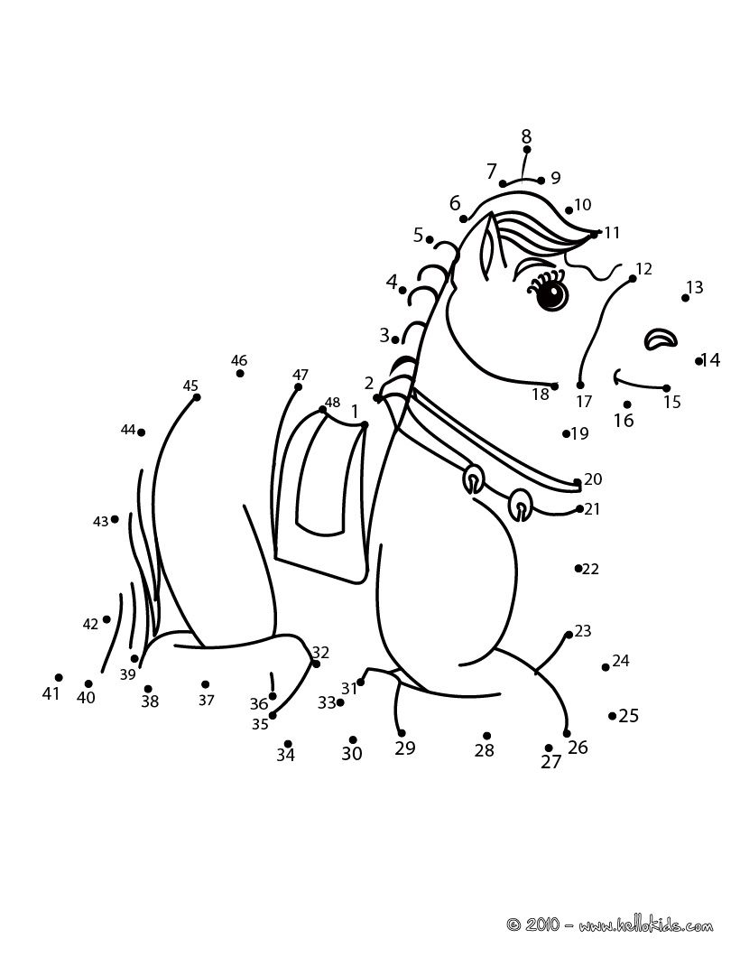 LAYING HORSE dot to dot game printable