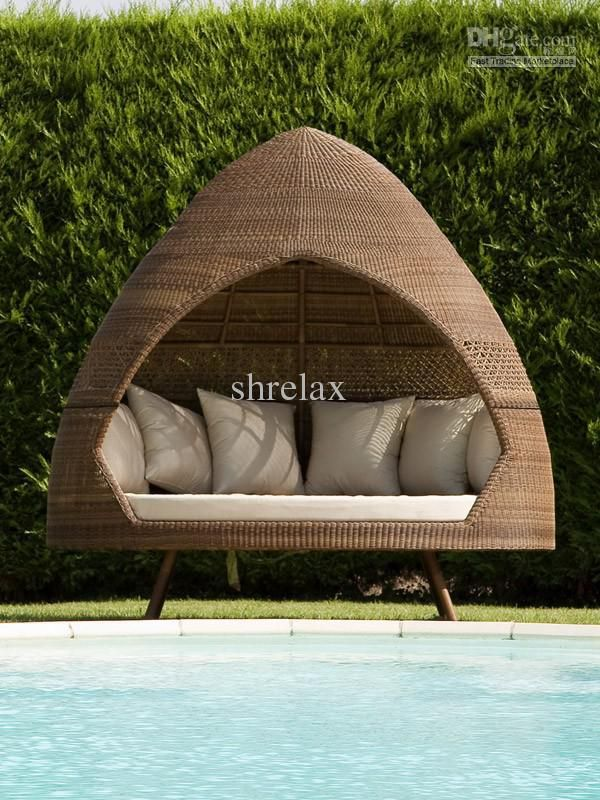 wholesale garden furniture buy outdoor hut day bed pe rattan garden furniture 61676