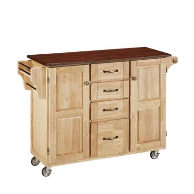Home Styles Create-a-Cart Wood Top Kitchen Cart with Towel Bar in Natural