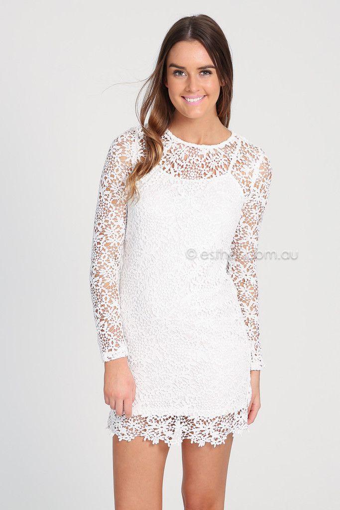 yasmin lace dress - white