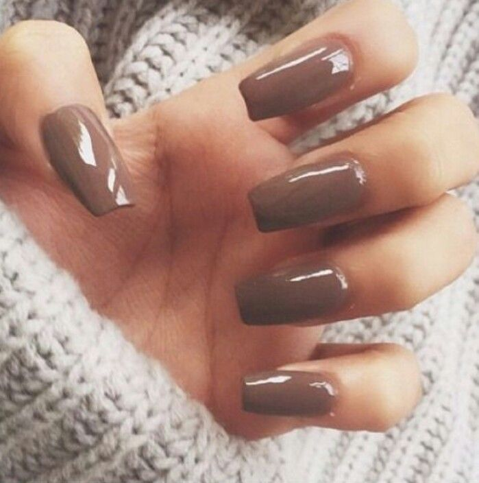 light brown square tip acrylic