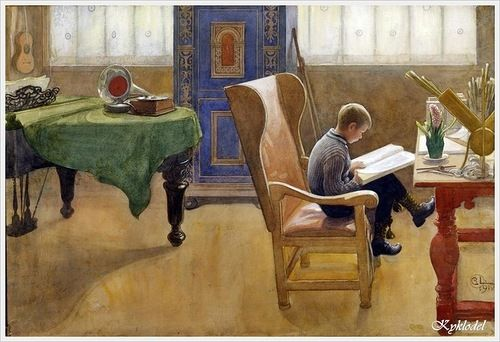 """Esbjorn in the Studying Corner"", 1912. Carl Larsson (Swedish, 1853 – 1919)"