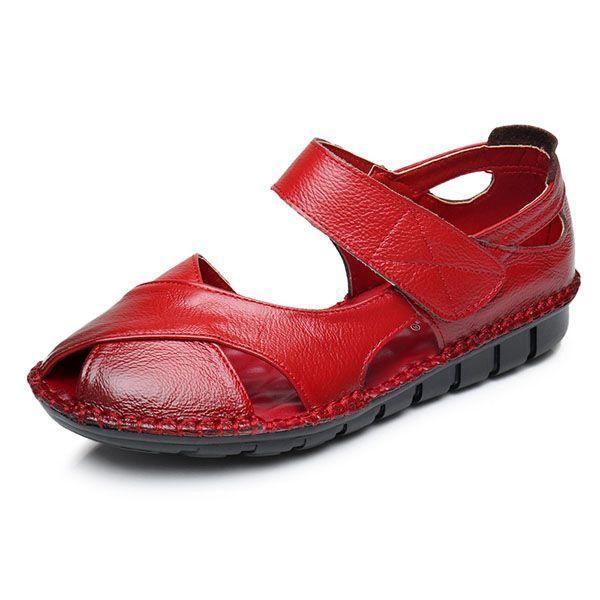 Socofy us size 5-11 genuine leather women soft non slip ...