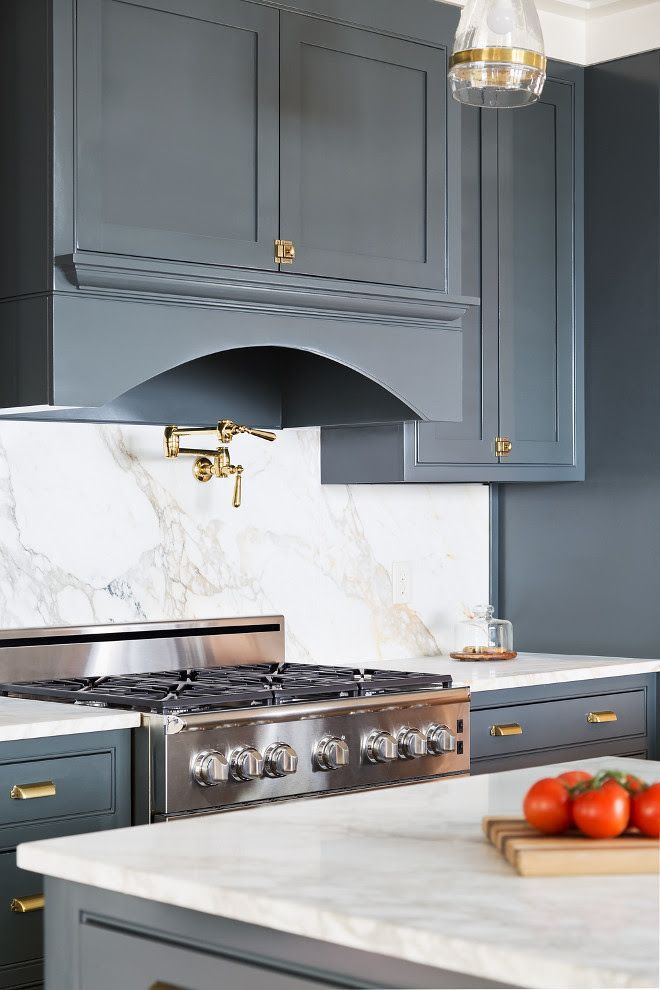 Brass Hardware. Kichen with brass hardware. Navy Grey Kitchen ...