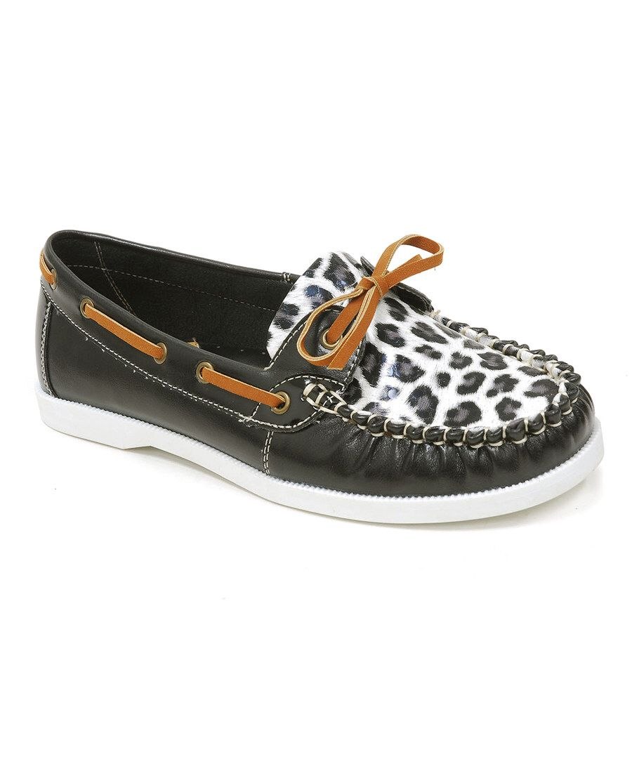 Look at this Spicy Footwear Black Leopard Moc-Toe Boat Shoe on #zulily today!