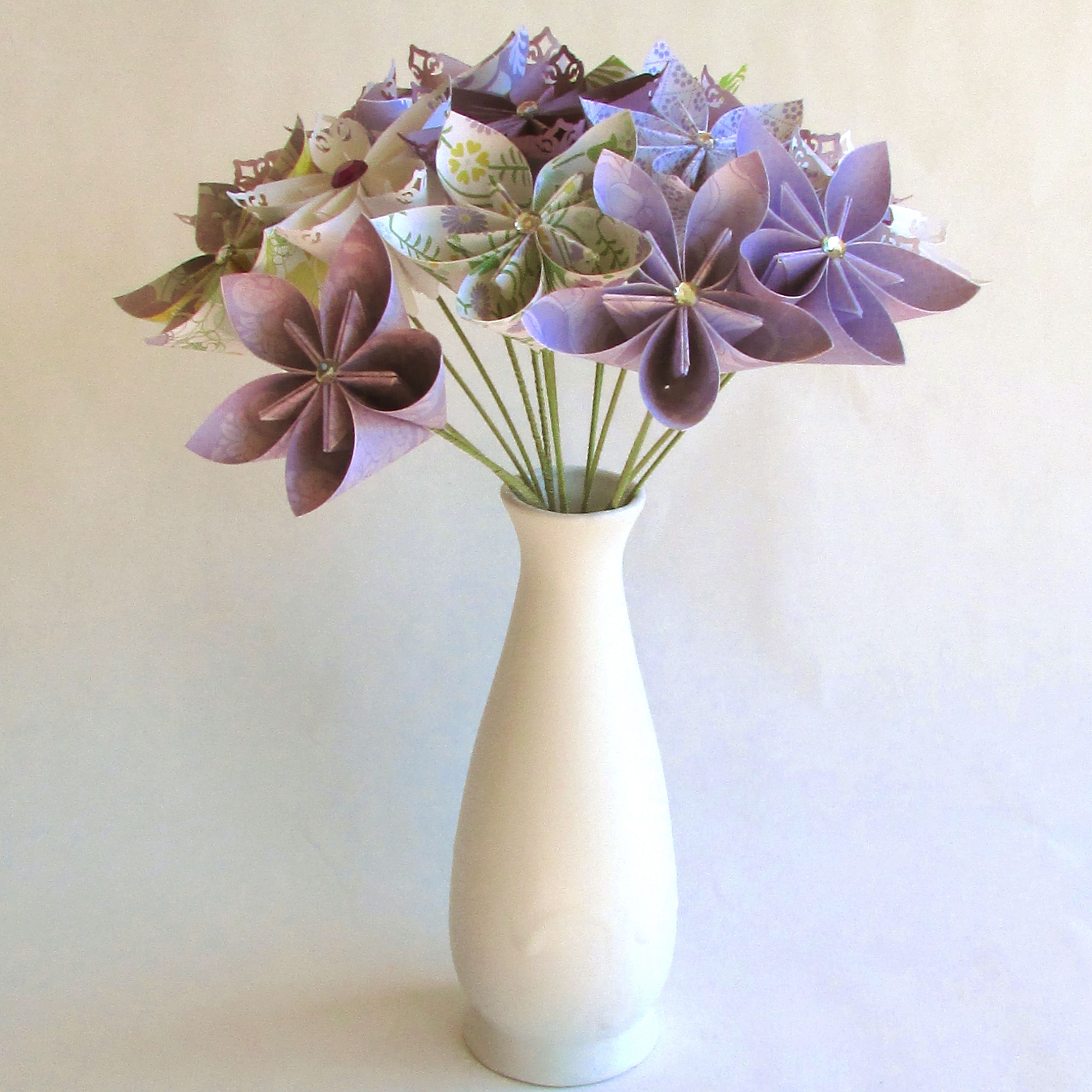 Purple Bouquet In Vase Purple Origami Bouquet Paper Flower Bouquet