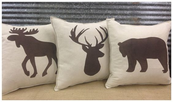 Swell Decorative Pillow Set With A Bear Deer Moose Silhouette Inzonedesignstudio Interior Chair Design Inzonedesignstudiocom