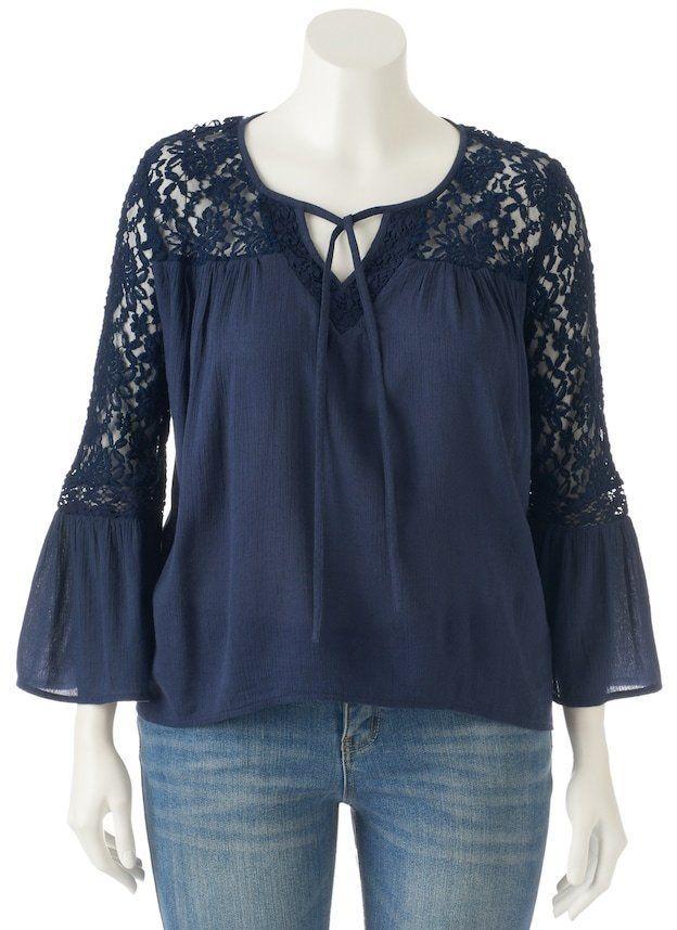087b8b8db83017 Juniors' Plus Size Mudd® Lace Sleeve Peasant Top | Products | Junior ...