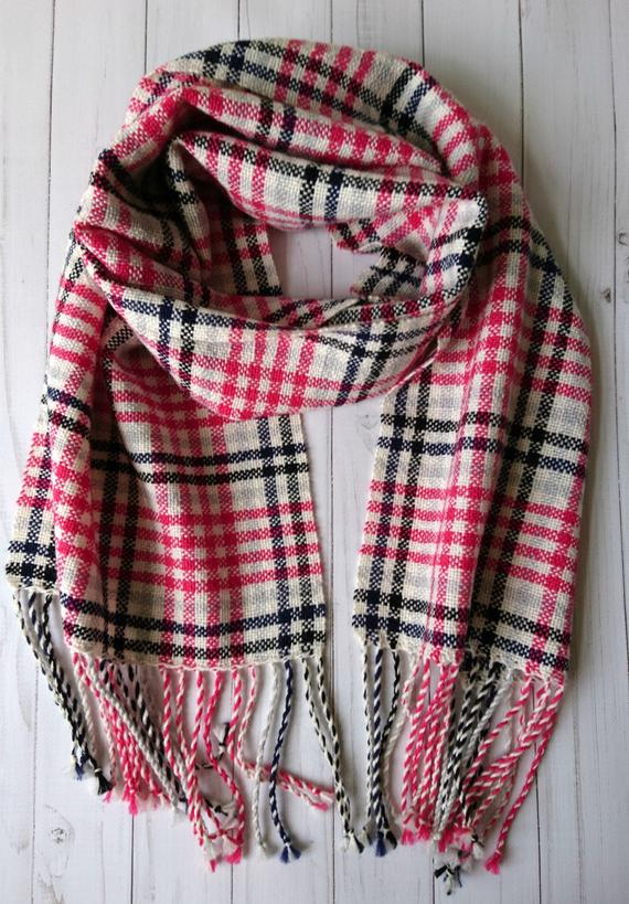 Handwoven wool tartan plaid scarf, Handmade womens checkered