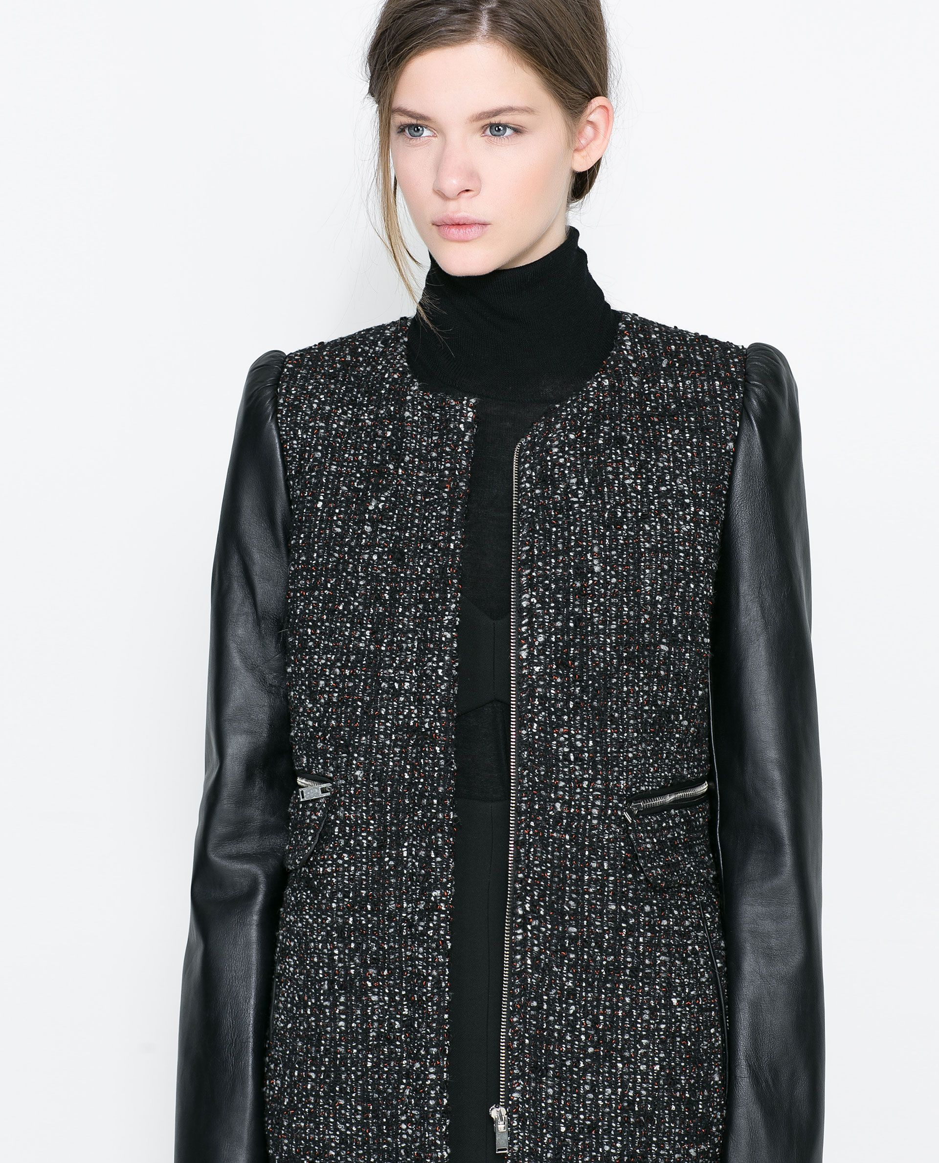 COAT WITH LEATHER SLEEVE from Zara Zara, Leather sleeve