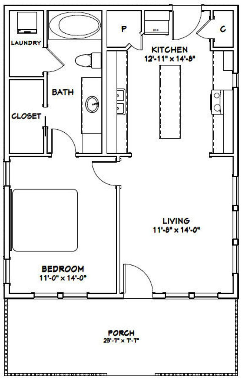 24x30 House 1 Bedroom 1 Bath 768 Sq Ft Pdf Floor Plan Etsy In 2021 Small House Floor Plans Tiny House Floor Plans One Bedroom House