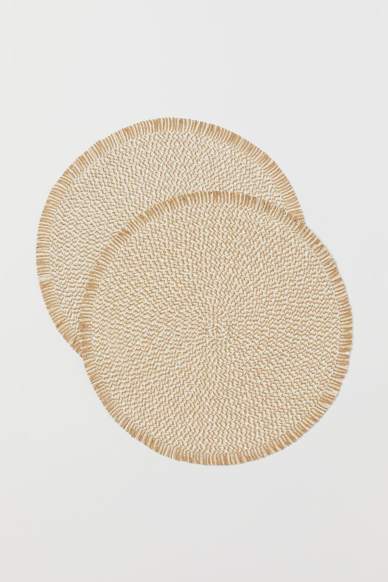 2 Pack Straw Placemats Beige Home All H M Ca Straw Placemats Placemats Table Mats