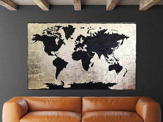 world map wall art world map decor map decor gold foil map of the world gold leaf art painting on canvas large canvas art gold map canvases etsy
