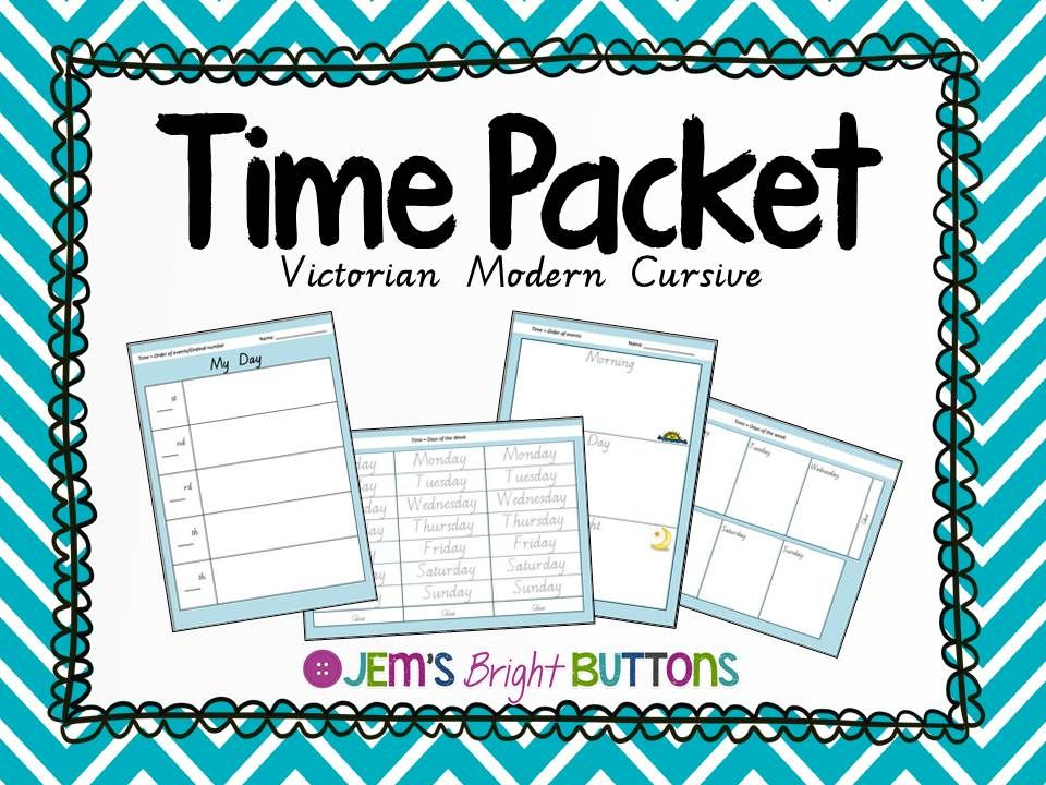 Time Packet (days, duration, order of events) Victorian Modern Cursive