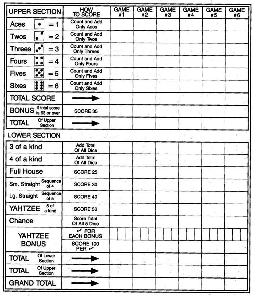 Large Print Yahtzee Scoresheet Big Print  No Dice  The