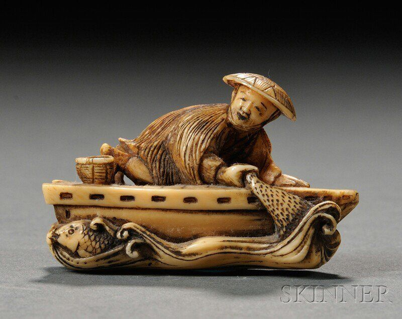 Ivory Netsuke, Japan, 19th century, carved in the shape of a fisherman on his boat, signed on base, lg. 1 5/8 in.