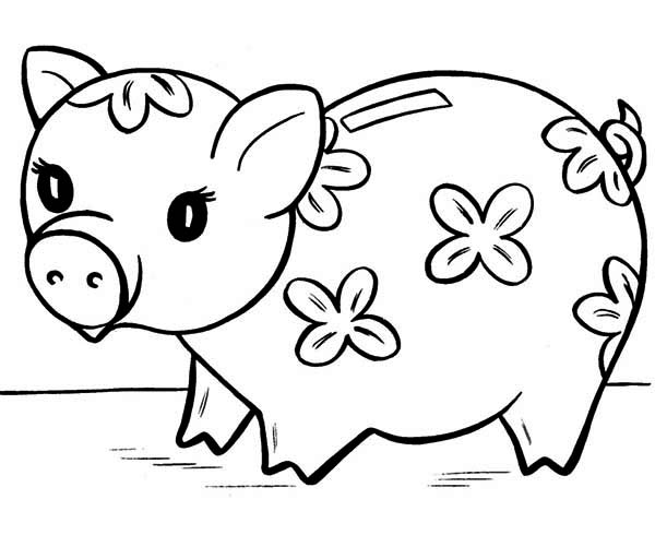 Cute Piggy Bank Coloring Page Color Luna