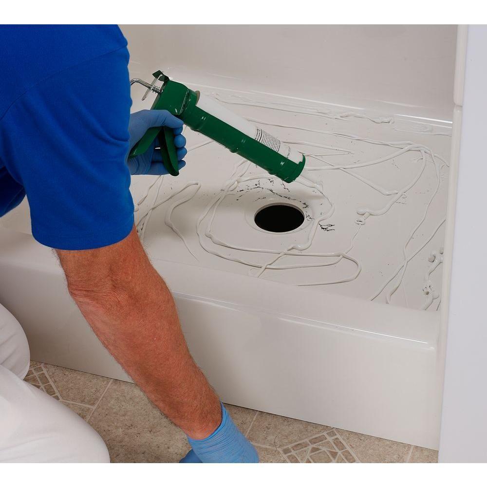 North American Polymer 22 In W X 40 In L Shower Floor Repair Inlay Kit White In 2020 Shower Floor Shower Repair Fiberglass Shower