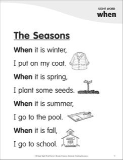The Seasons: Poem for Sight Word ���when���