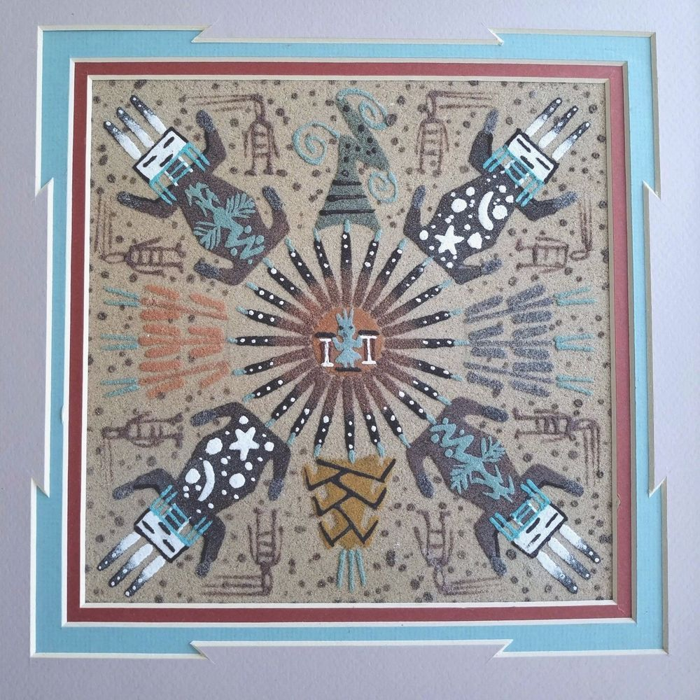 Sand Painting Southwestern Art Healing Balance Navajo Indian Signed ...