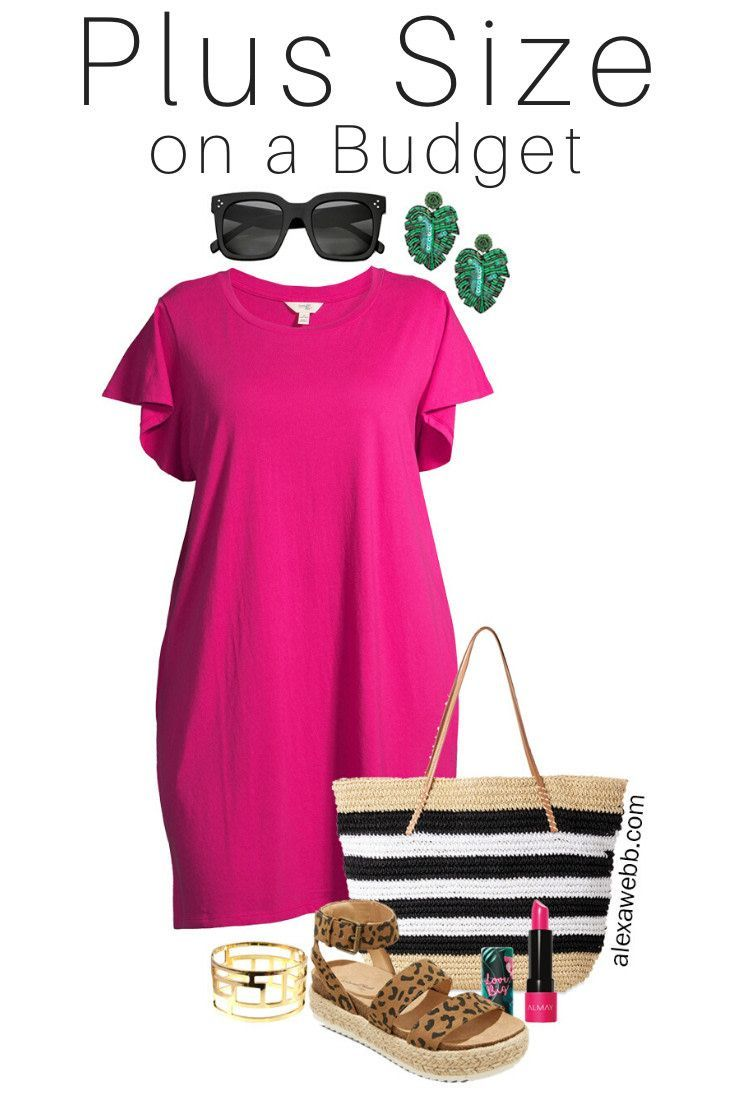 Plus Size on a Budget - Pink T-Shirt Dress Outfit