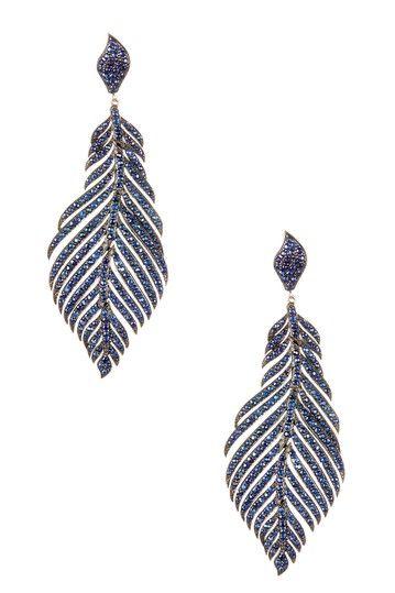 Sapphire Leaf Dangle Earrings by United Gemco Inc. on @HauteLook