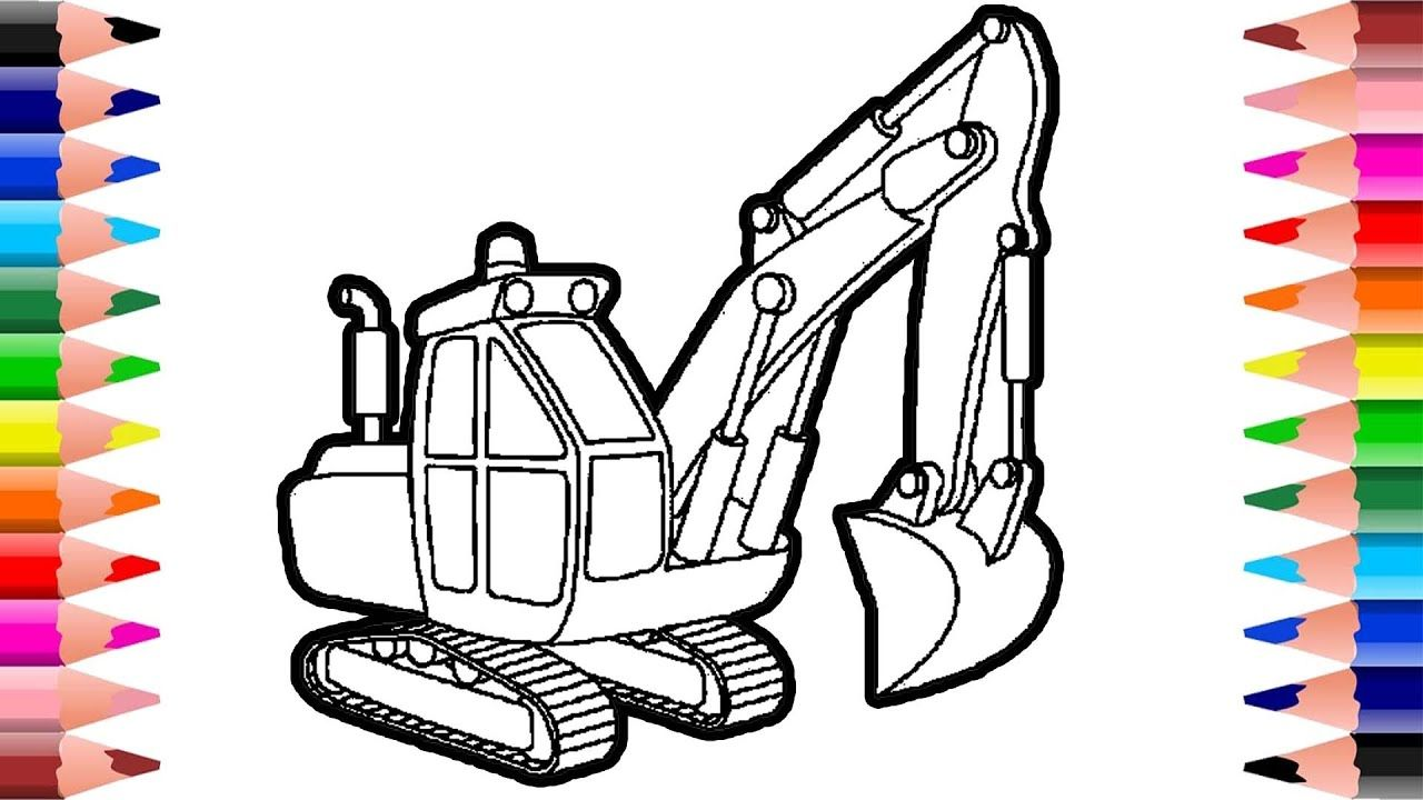 Excavator Drawing And Coloring Easy Vehicle Coloring Construction Co Excavator Vehicles Color