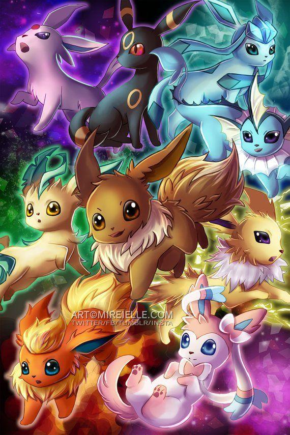 Photo of Anime Prints Pokemon Eevee Eeveeolutions Poster Fanart WallArt Jolteon Glaceon F…