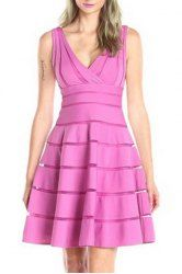 Casual Pink V-Neck Sleeveless Pleated High Waist Dress For Women