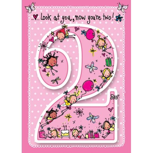 Look at you, now you're two!  - Baby pink card!