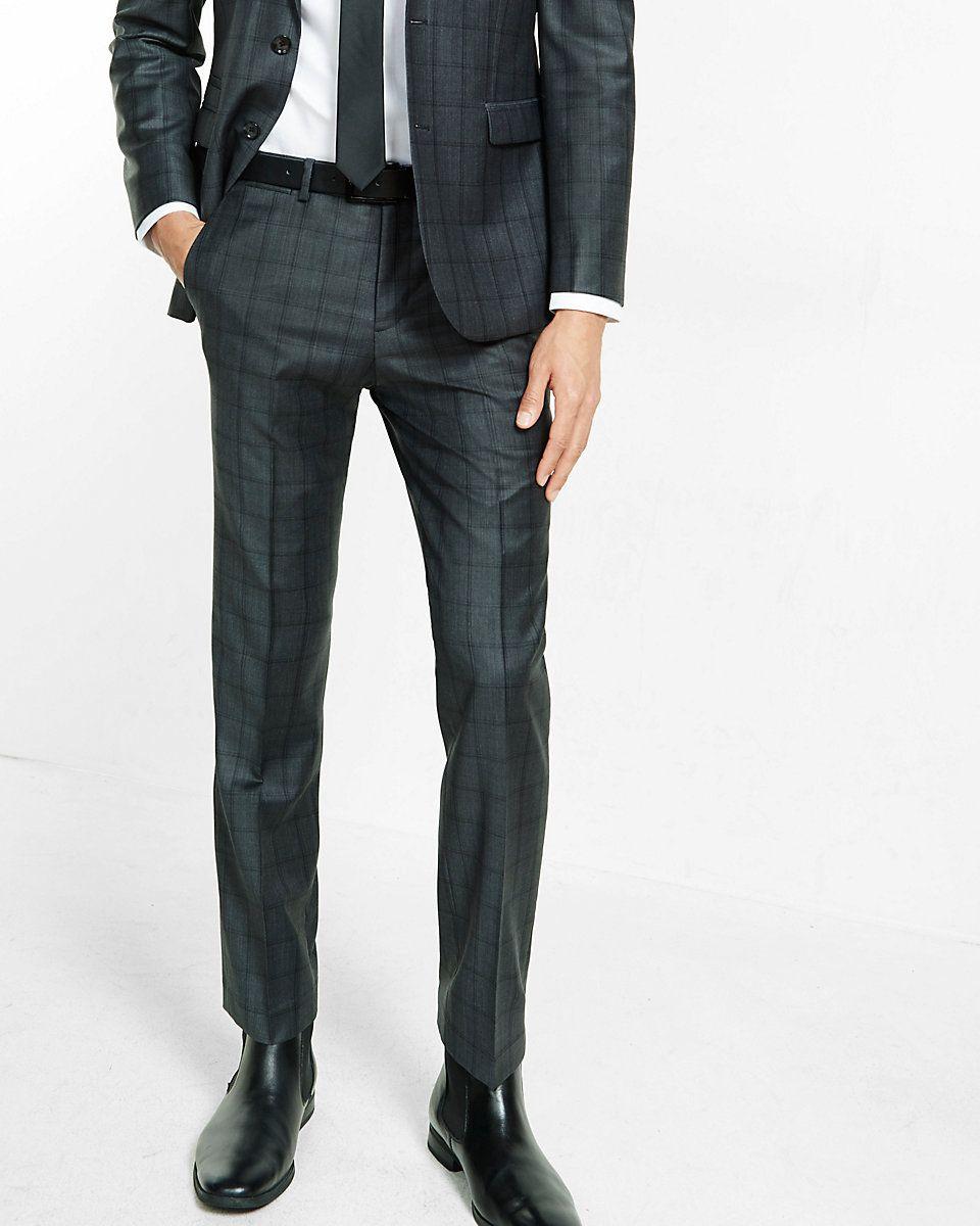 slim photographer charcoal gray windowpane wool blend suit