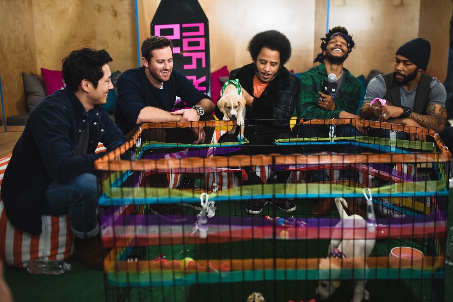 L R Steven Yeun Armie Hammer Boots Riley Jermaine Fowler And Omari Hardwick Of The Film Sorry To Bother You Stopped B Steven Yeun Actors Actresses Photo