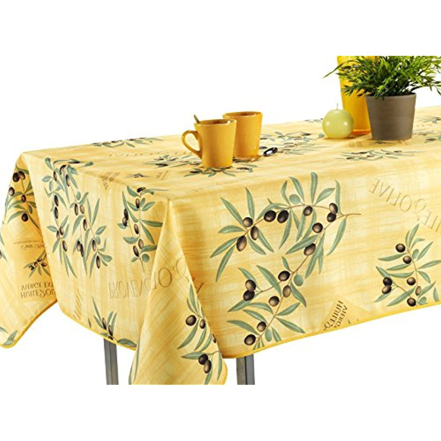 Tablecloth Yellow Olive Branch Stain Resistant Washable Liquid Spills Bead Up 60 X 95 Oblong V Stain Resistant Tablecloth Table Cloth Round Tablecloth