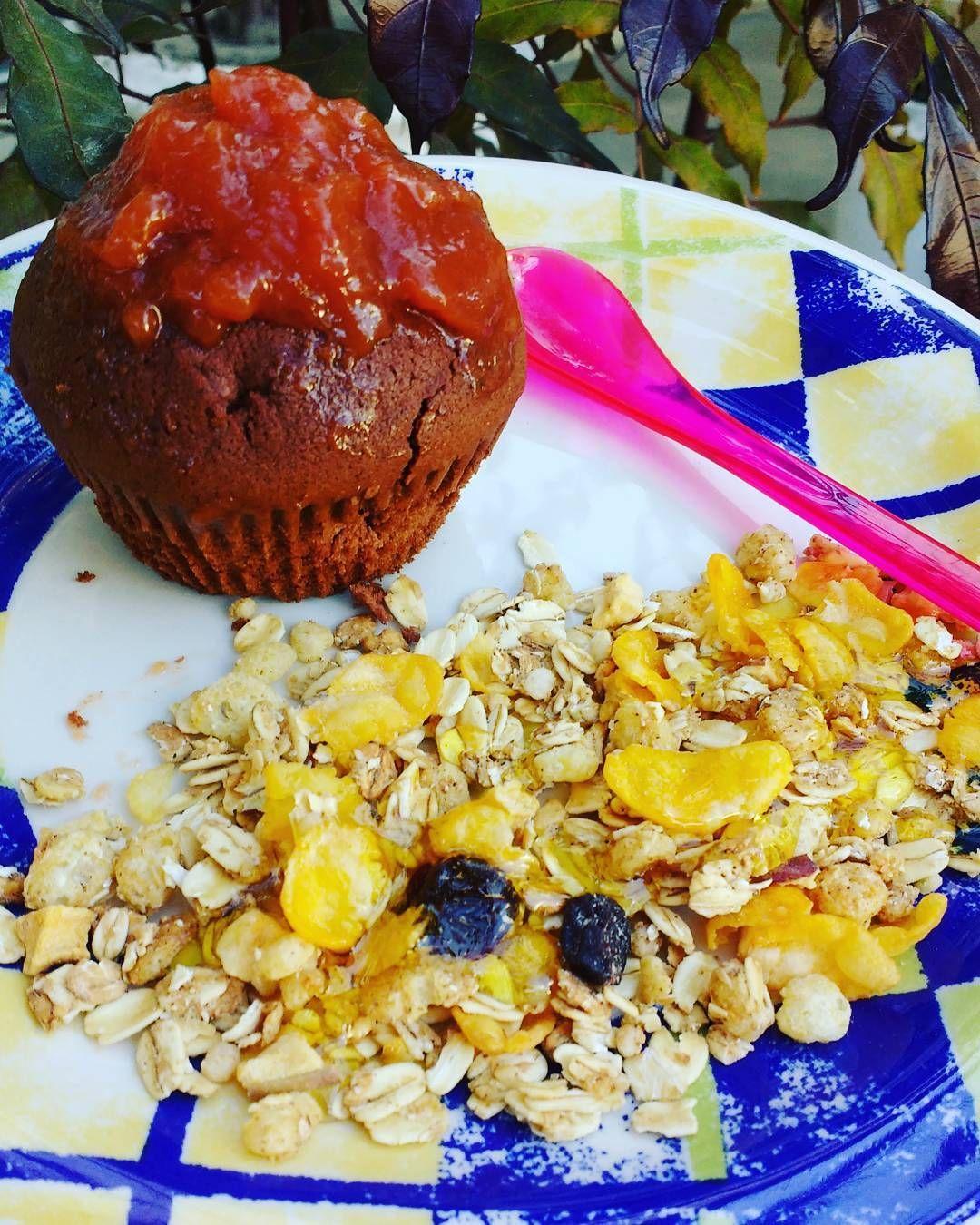 O lanche da tarde foi essa delícia de muffin de chocolate, feito com farinha de amêndoas e cacau em pó. Pra acompanhar, essa geleia diet de goiaba e granola diet.  #muffin #lanchesaudavel ##reeducacaoalimentar #mudancadehabito #escolhasaudavel  #metas #euquefiz #emagrecimento  #disciplinanadieta 🍍🍐🍓💪