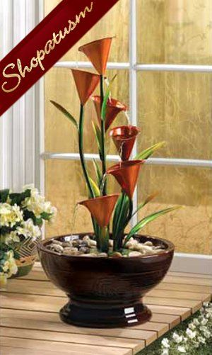 Calla Lily Table Fountain Lily Decorative Centerpiece With Water