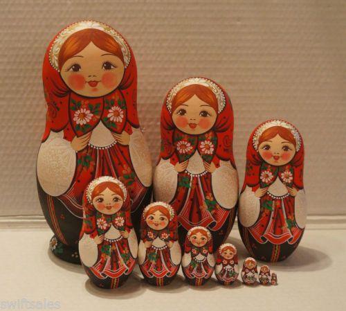 Muito-Grande-De-Madeira-Russa-Matryoshka-bonecos-de-nidificacao-10-Pecas-Coloracao-Exclusivo