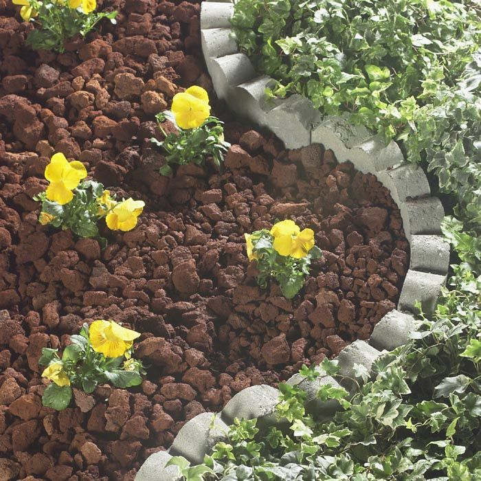 Brick Around Shed With Mulch And Flowers: Red Brick Nuggets Pea Gravel, Small River Pebbles And