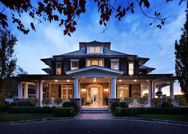 Love The Wrap Around Porch, Floor To Ceiling Windows, Stone, Columns And  Shutters. Ok, I Just Love This House! This Is My Dream House!