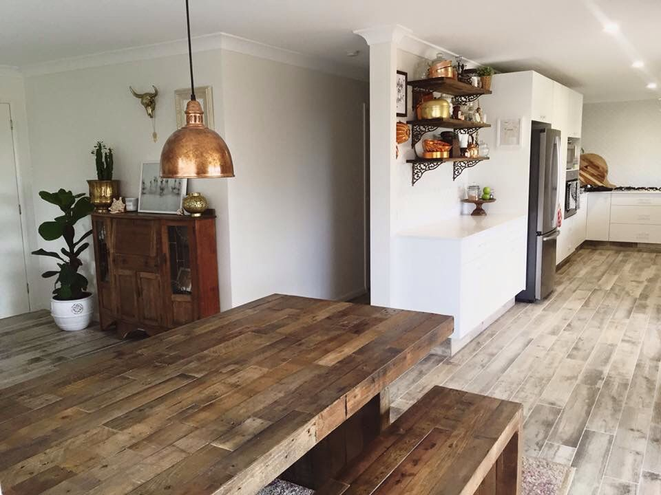 home renovation boho bohemian style wood dining table bench seats pendant copper light kitchen on boho chic kitchen table id=72177