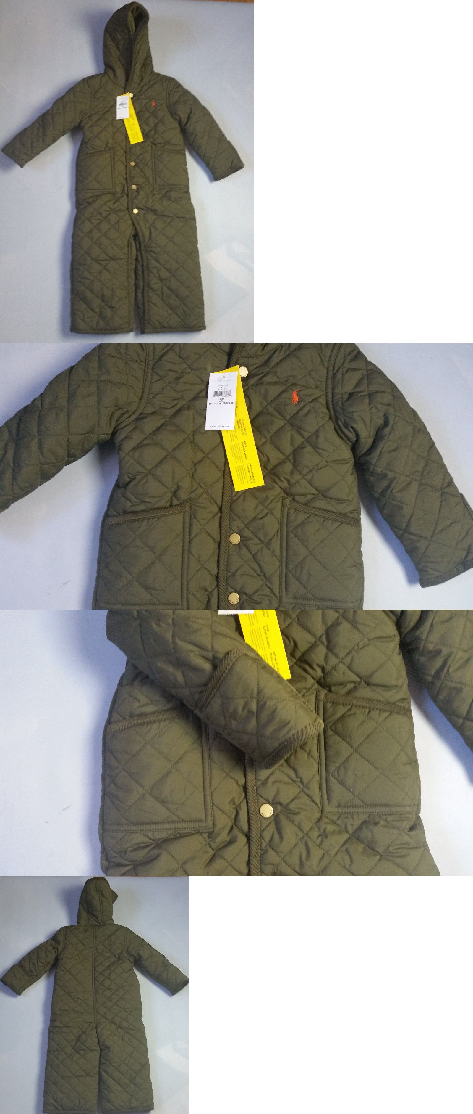 Outerwear 163399 Polo Ralph Lauren Olive Green Quilted Coverall Snowsuit