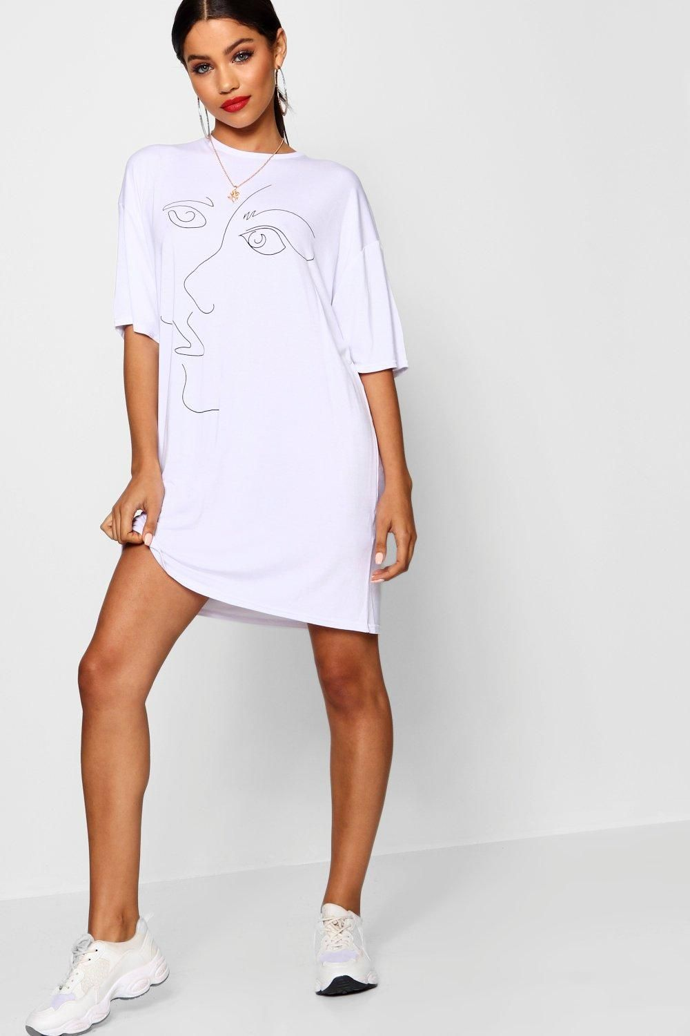 61a8bf88bccc6 Click here to find out about the Scribble Face Oversized T Shirt Dress from  Boohoo, part of our latest NEW IN collection ready to shop online today!