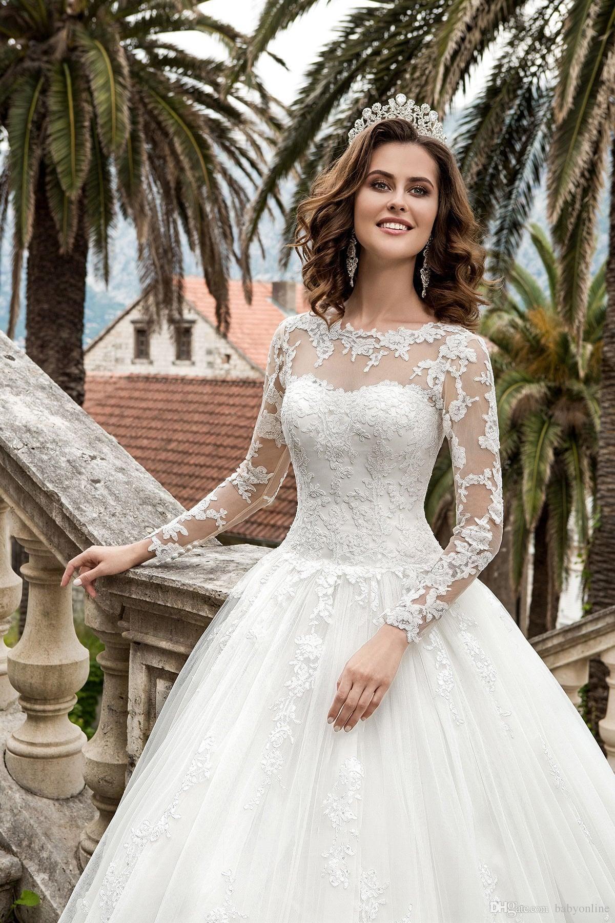 New Queen Vestios De Novia A Line Wedding Dresses Sheer Long