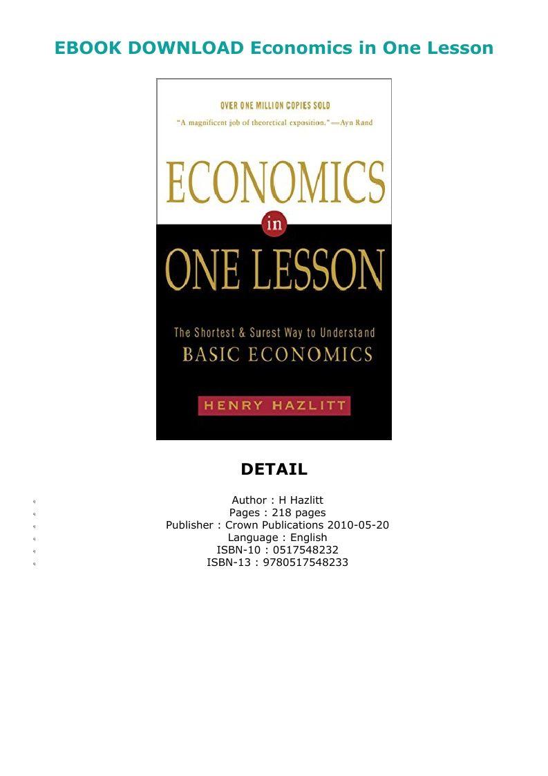 Pdf Download Economics In One Lesson Ebook Pdf Download Audiobook Epub Reading Online Lesson Audio Books