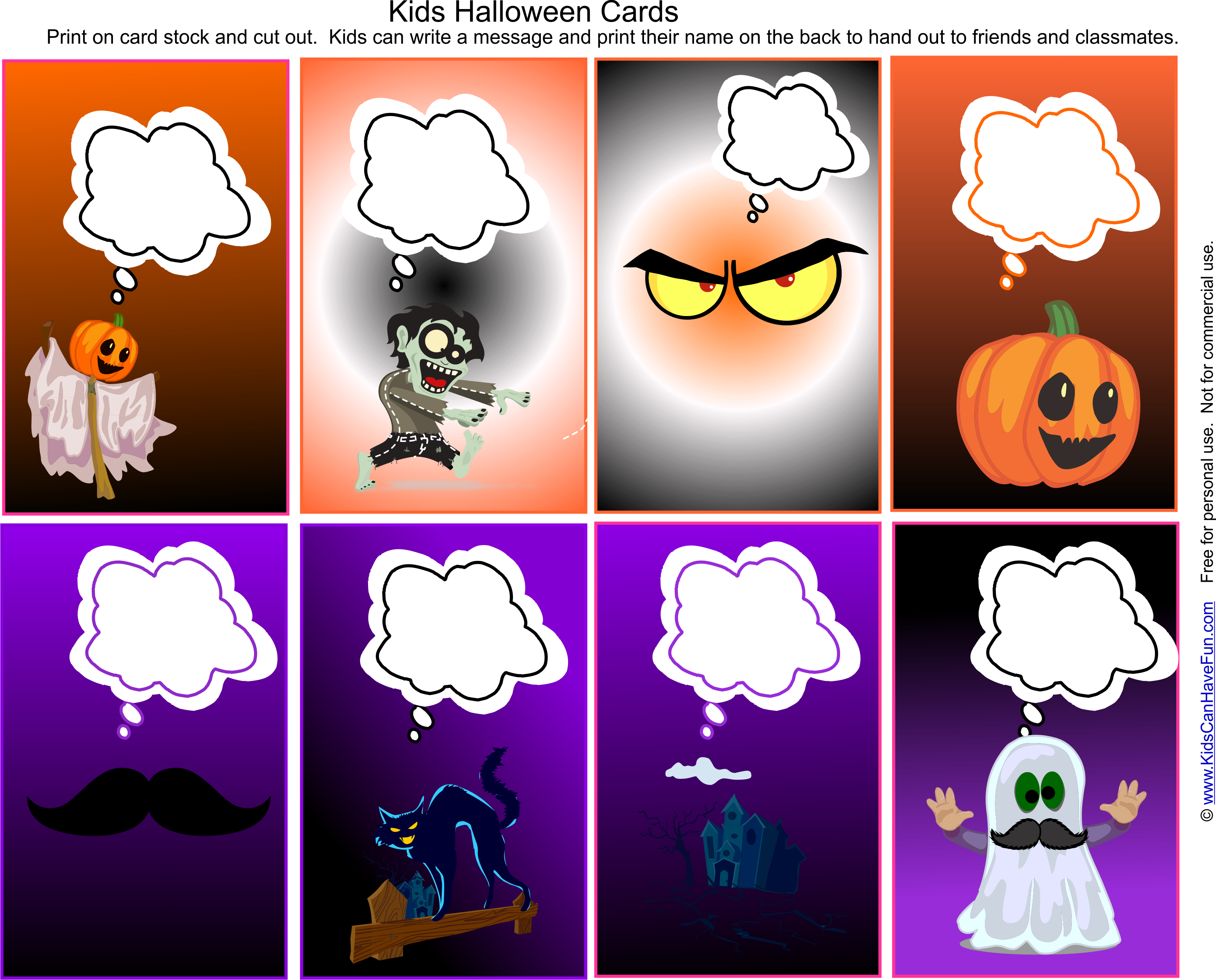 Kids Halloween Cards To Write A Message