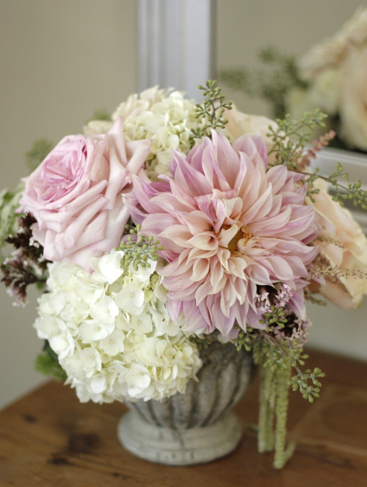 dahlias, hydrangea & rosesreminds me of my bouquet, except the