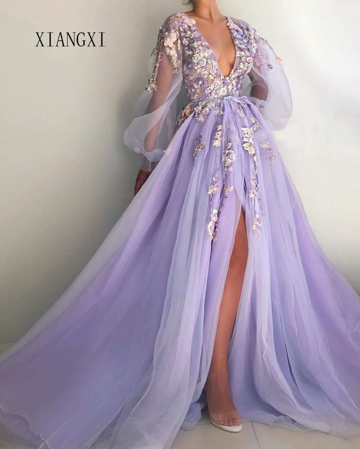Special Occasion Dresses Beautiful Lilac Evening Dress Deep V Neck Full Sleeves Tulle A Line Long Evening Dresses Prom Par Dresses Gowns Dresses Ball Dresses [ 1500 x 1204 Pixel ]